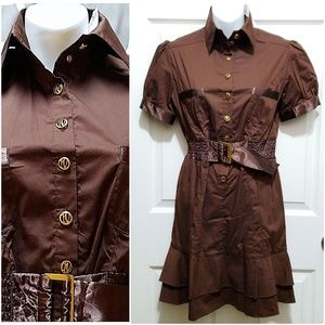 NWT Brown Retro Chic One Piece Button Up Dress